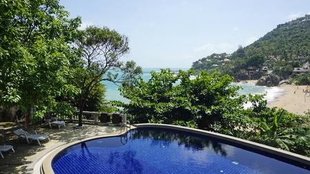 hillsde pool at koh samui with view to coral beach Фото со стока