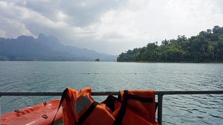 orange paddle boats in khao sok for kayaking Фото со стока