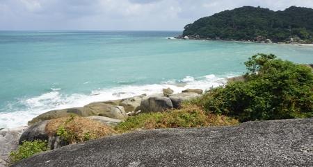 tropical silver beach oh koh samui in thailand 版權商用圖片