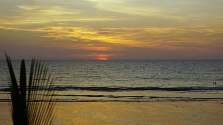sunset at the beach of khao lak in thailand Standard-Bild - 120714365