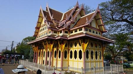 colorful royal pavilion in hua hin railway station Standard-Bild - 120714479