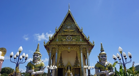 chinese plai laem temple on koh samui in thailand Standard-Bild - 120714533