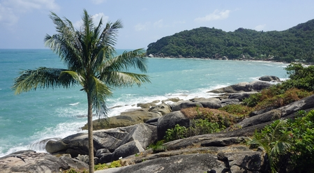 tropical silver beach oh koh samui in thailand Standard-Bild - 120714587