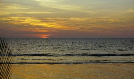 sunset at the beach of khao lak in thailand Standard-Bild - 120714625