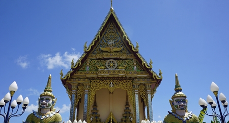 chinese plai laem temple on koh samui in thailand Standard-Bild - 120714642