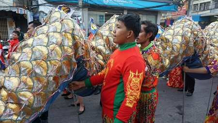 hua hin, thailand, circa february 2019 - local people celebrate chinese new year