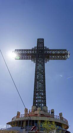 metal millennium cross in skopje in northern macedonia