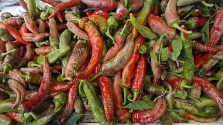 fresh chilies and peppers from the market of skopje Stockfoto - 131826079