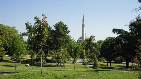 islamic mosque in a park in macedonian capitol skopje