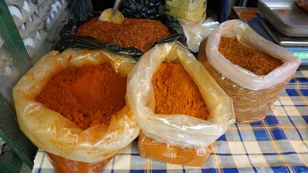fresh ground spices from skopje market in macedonia