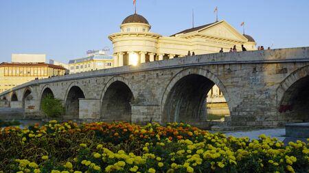 Skopje, Macedonia, circa September 2019: buildings at the River Redactioneel