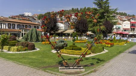 Ohrid, Macedonia, circa September 2019: Autumn in the colorful City Centre