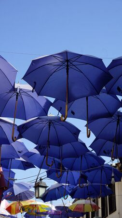 Skope, Macedonia, circa September 2019: colorful umbrellas Editorial