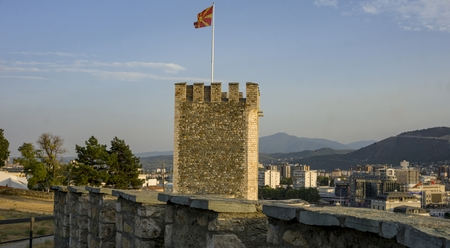 flag of Republic of North Macedonia at the Fortress of Skopje Redactioneel