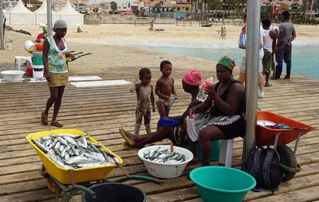 Santa Marica, Cape Verde, circa June 2017: Fisherman families life Sajtókép