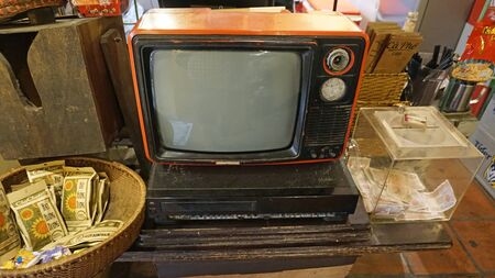 old retro television as a decoration in a bar