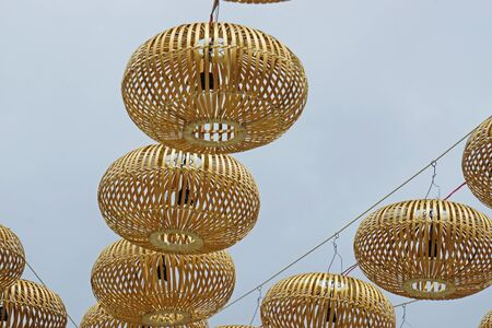 colorful traditional vietnamese bamboo lanterns in the sky