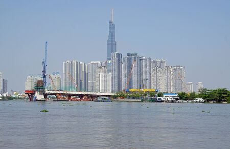 mega skyline from ho chi minh city from the nha ben river