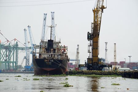 ships on nha ben river in ho chi minh city Stock Photo