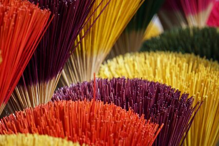 factory producing colorful incense sticks in vietnam