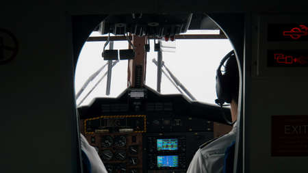 Mahe, Sychelles, circa January 2015: View into Cockpit of small Passenger Plane