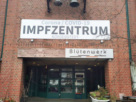 Norderstedt, Germany: circa January 2021: Closed Entrance to Covid Vaccination Center