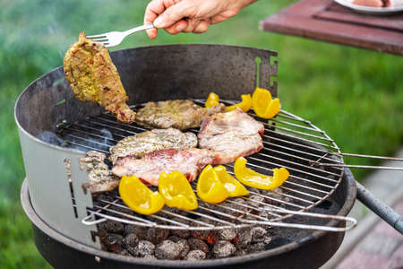 Meat and vegetables on a charcoal grill.