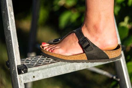 A woman on sandals is standing on a ladder. Standard-Bild