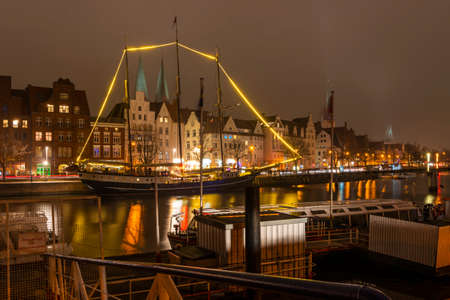 A view on the river Trave in Lübeck, Germany.