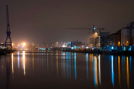 A view on the Trave in Lübeck during nighttime. Editorial