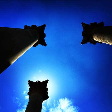 us capitol: U.S. Capitol columns at the National Arboretum. Stock Photo
