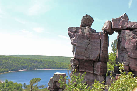 Lookout point at Devil s Lake with a cool rock formation