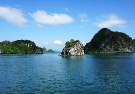 southeast: Island in Blue Sky Halong Bay, Vietnam, Southeast Asia Stock Photo