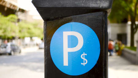 Municipal parking machine in Montreal, Canada Stock Photo