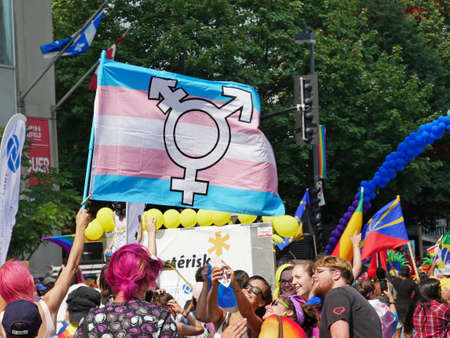 bisexual women: Montreal, Canada. 20th august 2017, The Pride Parade is the most ever-popular and colorful Pride Parade in Canada. The flagship event of Montreal Pride week. Editorial