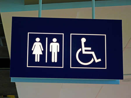 drawing room: Toilet sign for men, women and disabled toilet