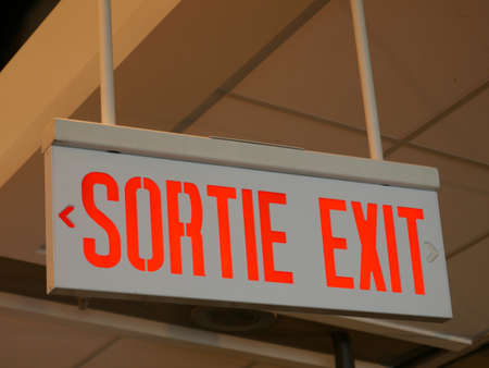 Exit sign in a airport