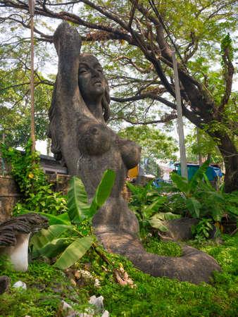 Alleppey, Kerala, India. 01012018. Mermaid statue near the backwaters in Alleppey.