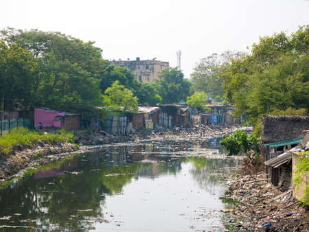 Waste or garbage polluting lake or canal causing disaster to environment. Chennai
