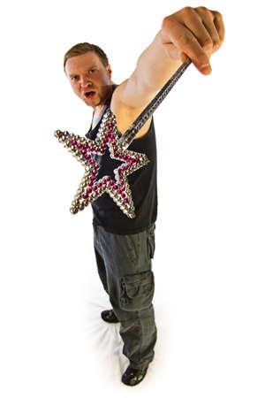 Funny guy with magic stick - isolated fisheye photo photo