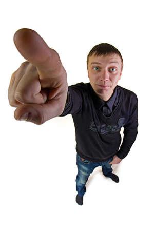 Man pointing his finger - fisheye photo portrait