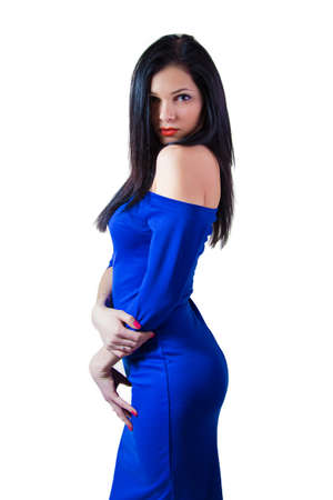 Girl in blue dress - isolated photo portrait photo