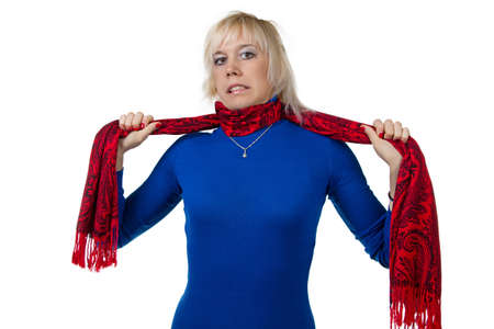 strangling: Girl strangling herself with scarf - isolated photo portrait Stock Photo