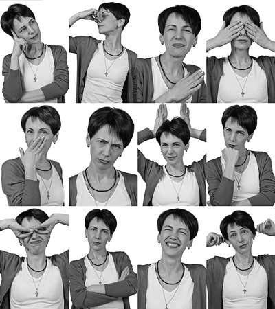 grimacing: Woman making faces and grimacing - isolated photo portrait