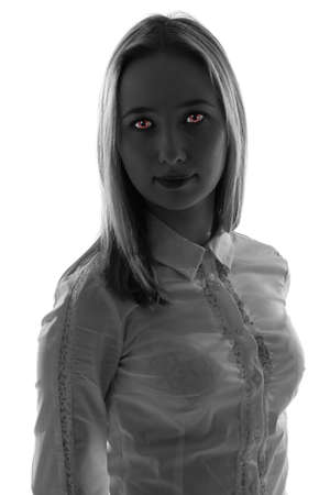 perversion: Fantasy woman with red eyes - black and white photo Stock Photo