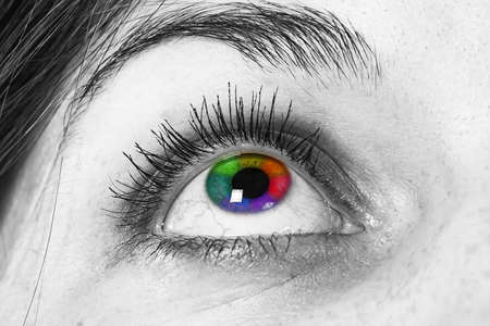 multicolored eye macro: Multicolored eye macro - black and white photo of an eye Stock Photo