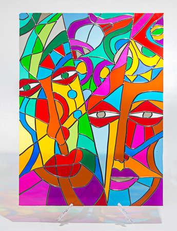 Foto von Hand gemacht Glasmalerei mit Schatten Standard-Bild