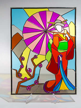Photo of hand made stained glass with shadow Banco de Imagens