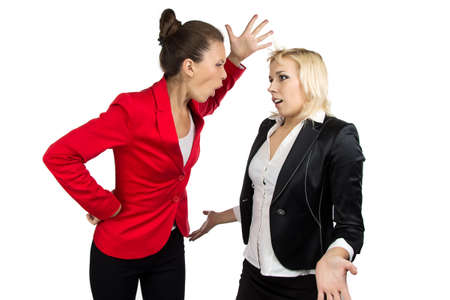 subordinate: Boss woman  yelling at a subordinate on the white background
