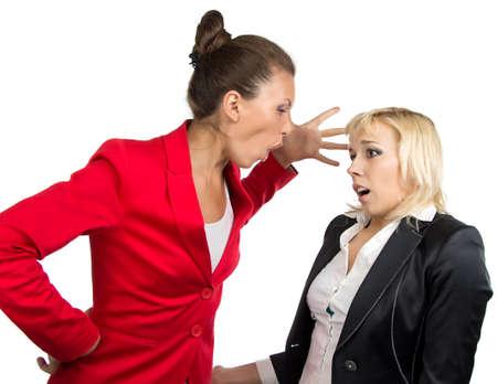subordinate: Business lady yelling at subordinate on the white background